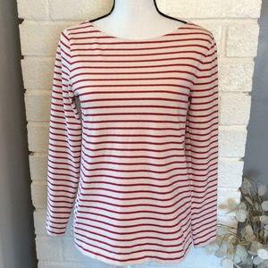 ❤️3/15  J. Crew Red Cream Stripes Long Sleeve Top